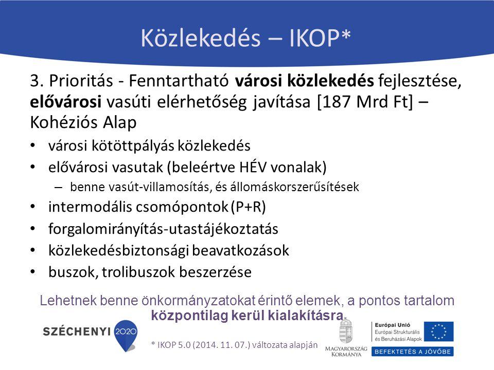 Közlekedés – IKOP* 3. Prioritás - Fenntartható városi közlekedés fejlesztése, elővárosi vasúti elérhetőség javítása [187 Mrd Ft] – Kohéziós Alap.